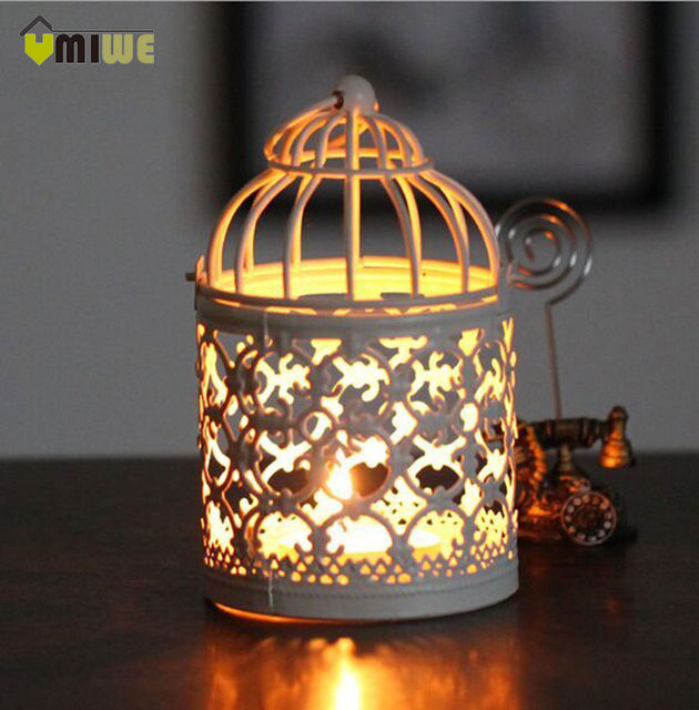 Umiwe Hot Moroccan Candle Holders Votive Iron Candlestick Candle Lantern Party Home Wedding Decoration