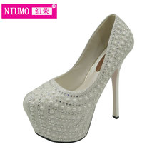 2017 high-heeled shoes thin heels 16 handmade pearl rhinestone pasted single shoes wedding shoes bridal shoes noble 15cm