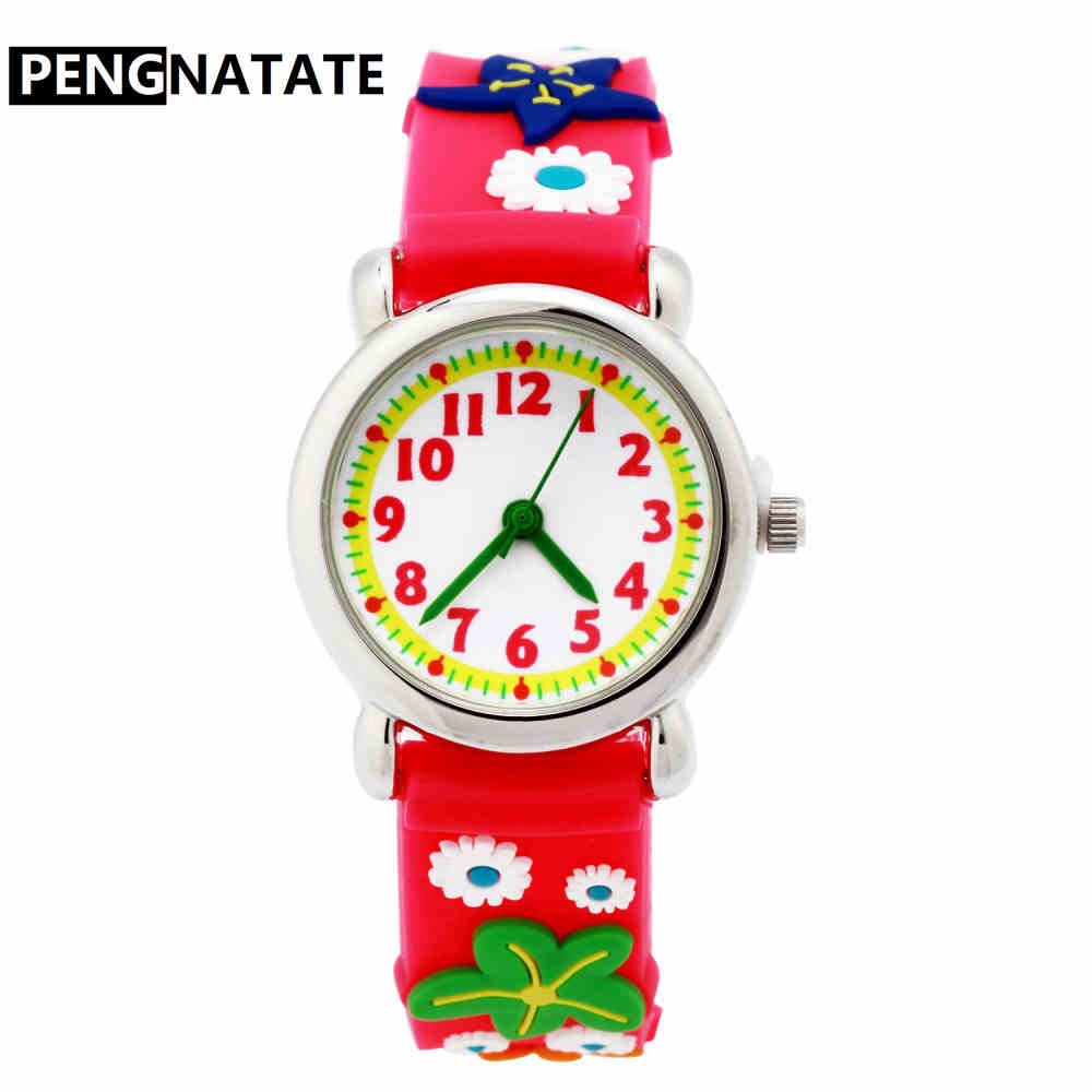 PENGNATATE Brand Girl Watch Roses Children Mini Watches Fashion Silicone Bracelet Cartoon Wristwatches Kids Gift Quartz Clock