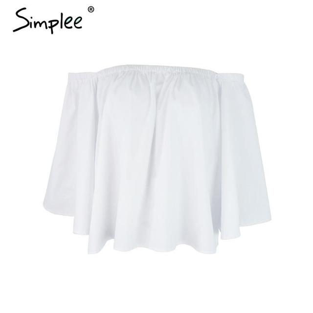 Simplee Apparel Sexy off shoulder cotton white blouse shirt Summer 2016 ruffles girls blouse Women tube tops beach casual blusas