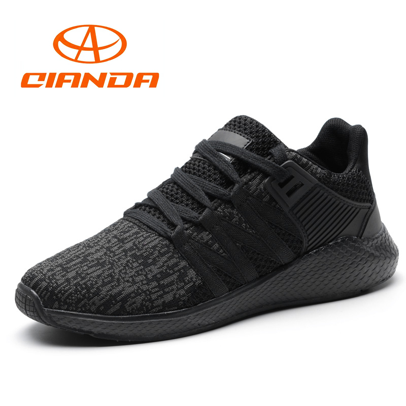 QIANDA Brand Man Sneakers Light Running Shoes for Men Breathable Mesh Sport Shoes Lace-Up Cushioning Jogging Walking Comfortable