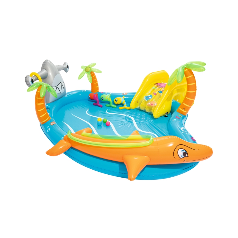 110'' Inflatable Sea Life Swimming Pool Play Center For Kids Summer Water Swim Game Garden Outdoor Ground Fun Raft orange inflatable airbag swimming upset buoy outdoor safety swim device upset inflated flotation pool open water sea lifesaving