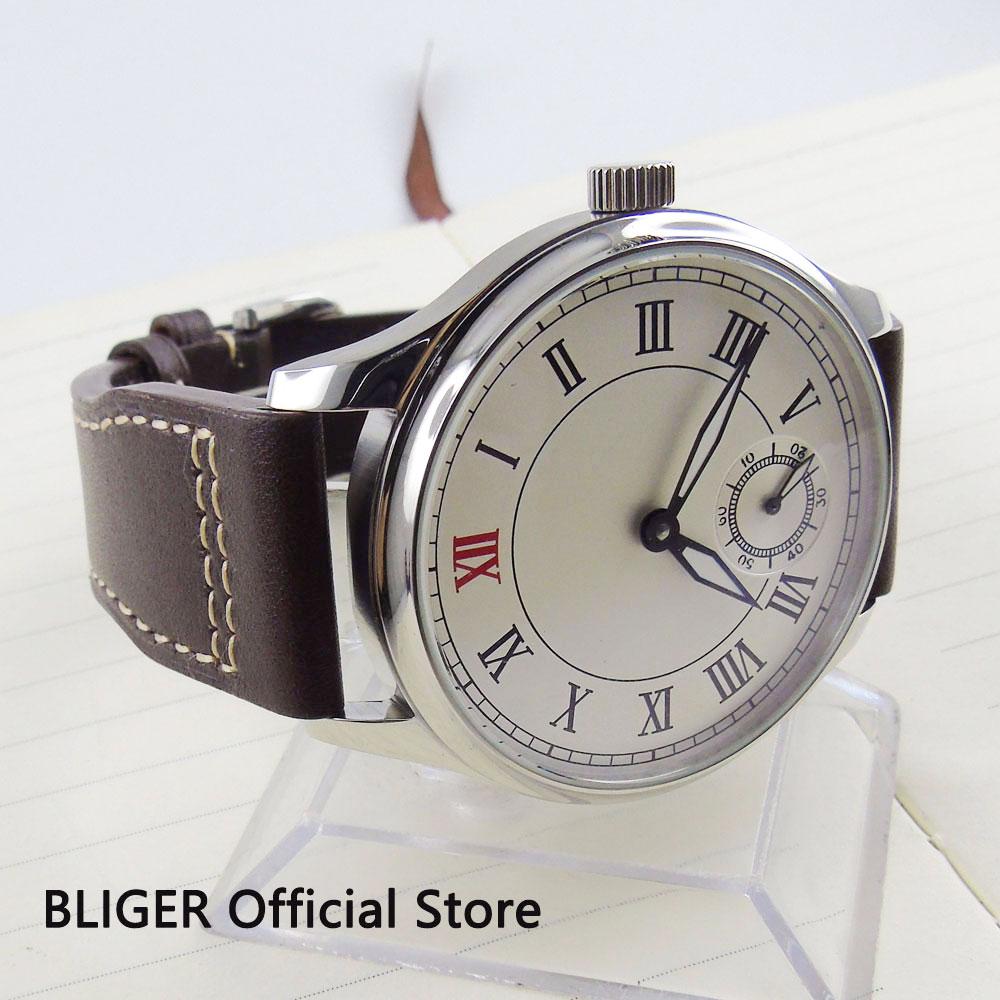 Clásico 44MM blanco grande estéril Dial romano números 17 joya 6498 movimiento de cuerda manual correa de cuero piloto relojes de pulsera para los hombres-in Relojes mecánicos from Relojes de pulsera    3