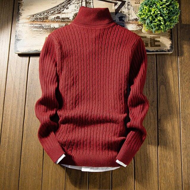 Hommes col haut pull stretch serré couleur uni tricoté chandail automne et hiver chaud mince hommes bottoming chandail S-2XL