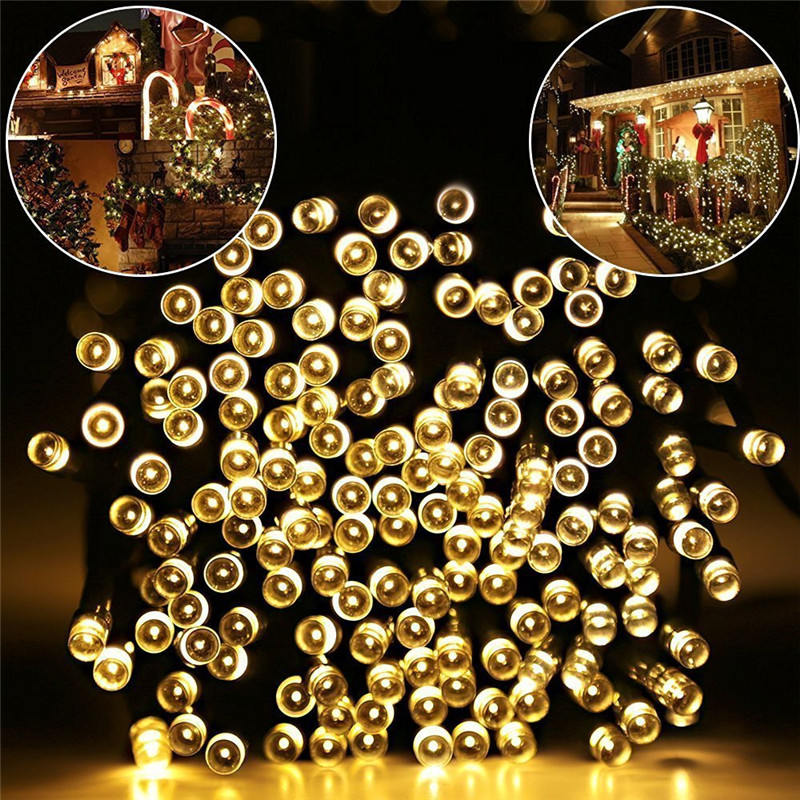 52M 500 Led Christmas Tree Garland Houses/Street Garden Waterproof Solar Chain String Fairy Lights Outdoor Valentines Decoration