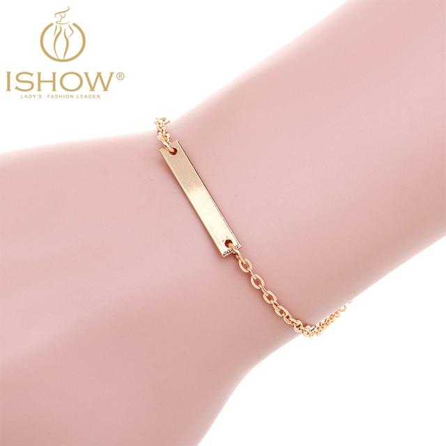 Geometric Thin Gold Color Bracelet Simple Chain Bar New Women Summer Bracelets Pulseras