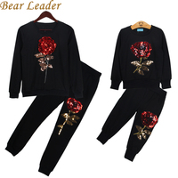 Bear Leader 2016 New Winter Style Family Matching Outfits Mother And Daughter Long Sleeve Rose Floral