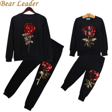 Bear Leader 2016 New Winter Style Family Matching Outfits Mother And Daughter Long Sleeve Rose Floral Sweatshirt+Pants 2Pcs Suit