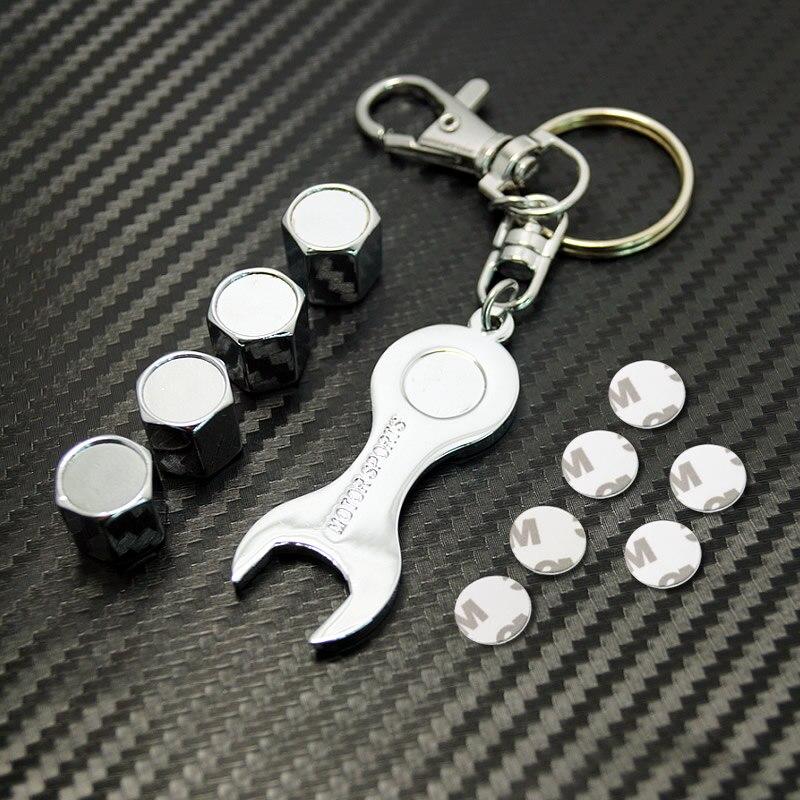 MOTOBOTS  Promotion Mix Order Car tyre valve cap cover 4pcs+wrench key chain #FD-3750