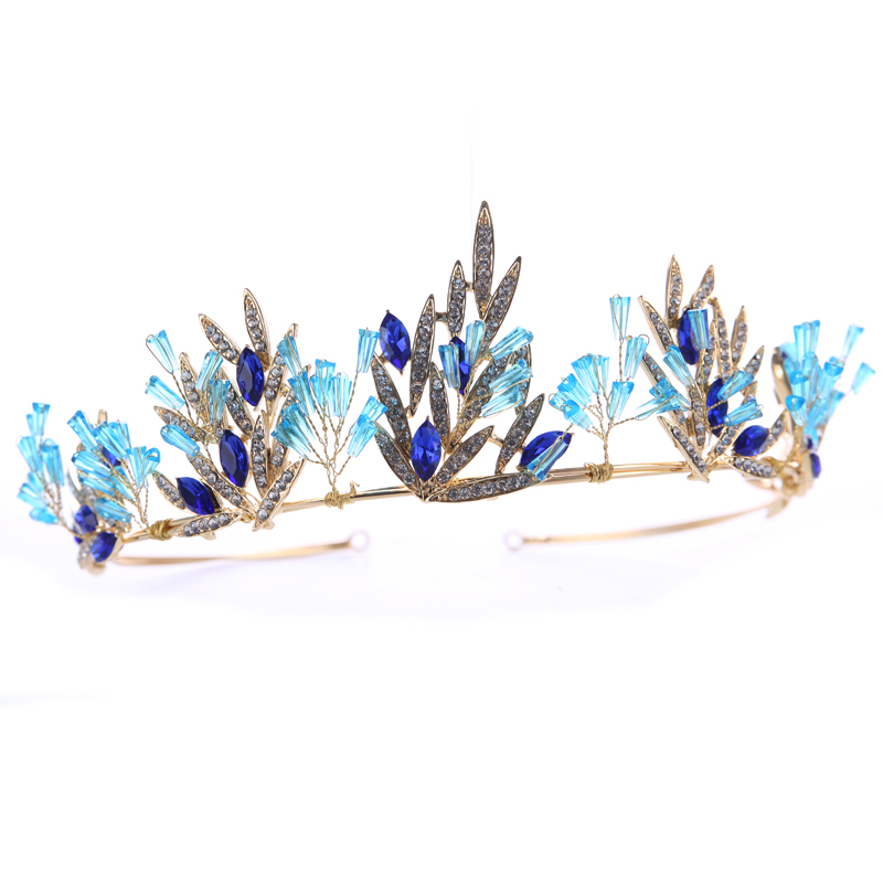 New Fashion Gold Wedding Hair Accessories Blue Crystal Tiaras Crowns Bridal Hairbands Rhinestone Women Hair Jewelry Ornaments
