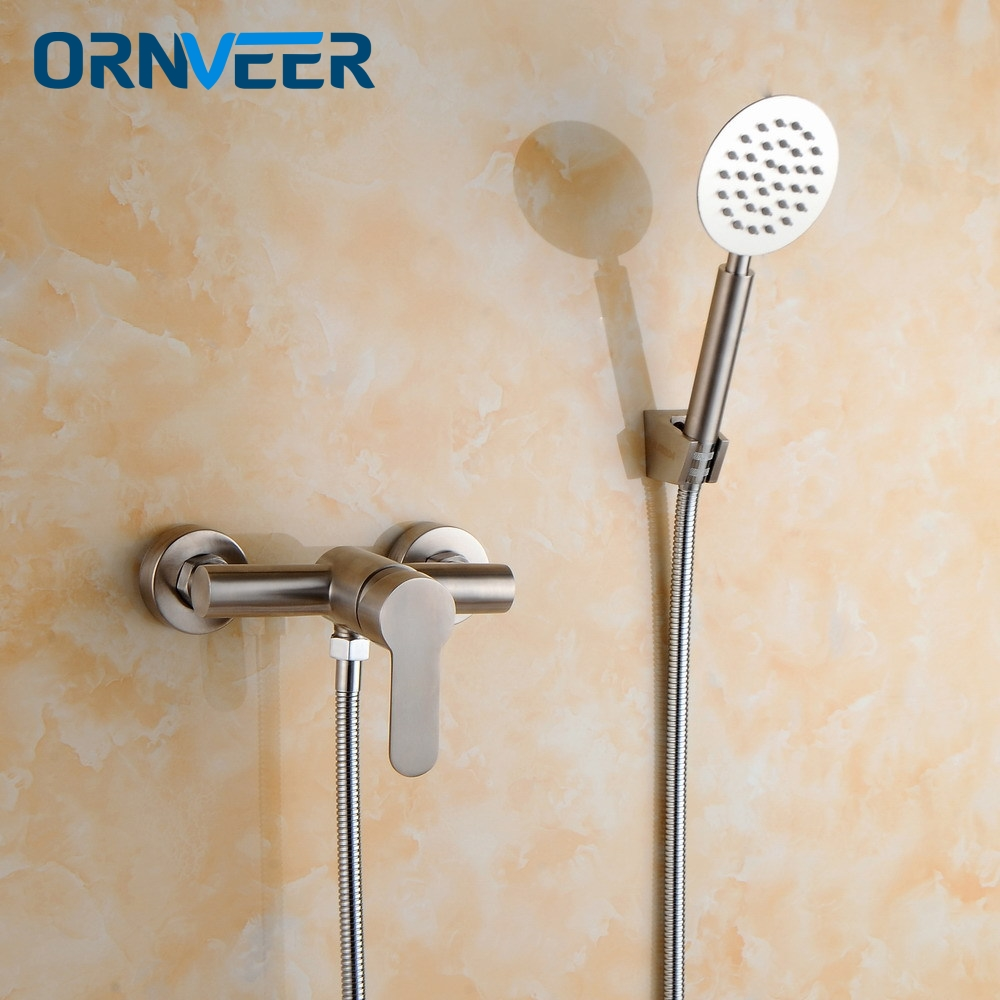 Free Shipping Classic Bathroom Shower Faucet Bath Faucet Mixer Tap With Hand Shower Head Set Wall Mounted free shipping bathroom shower gold color faucet bath faucet mixer tap with hand shower head set wall mounted is698