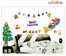 1700 Santa Claus, Christmas Tree for the Sitting Room the Bedroom Window Glass Can Remove the DIY Wall Sticker Free Shipping