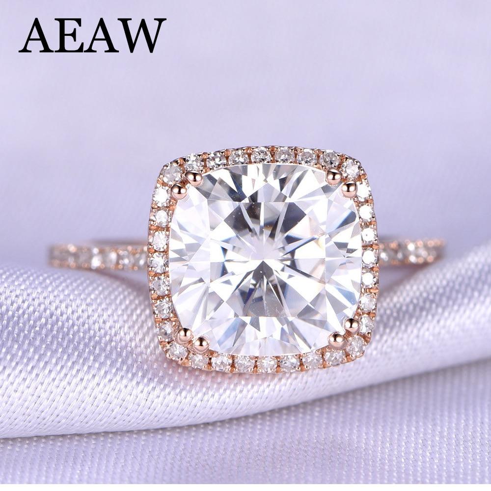 3 Carat ct DF Cushion Cut Engagement&Wedding Moissanite Diamond Ring Double Halo Ring Genuine 14K 585 Rose Gold 1 5 carat ct 7mm cushion cut engagement