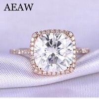 3 Carat ct DF Cushion Cut Engagement&Wedding Moissanite Diamond Ring Double Halo Ring Genuine 14K 585 Rose Gold