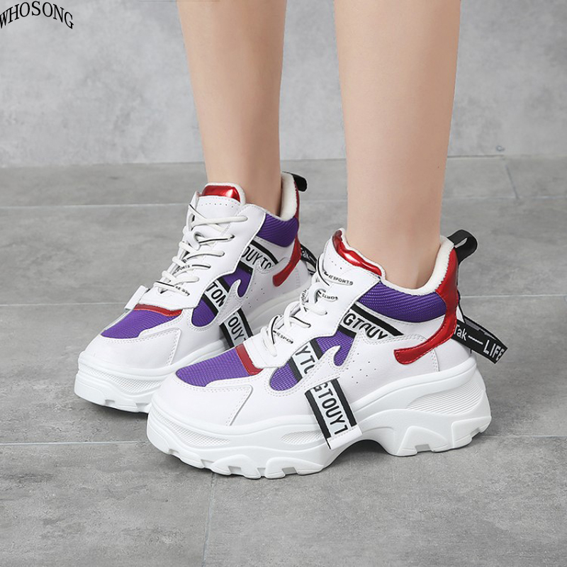 Women's Shoes 2019 Spring New Leather Mesh Chunky Sneakers Fashion Women Flat Lace-up Thick Sole Casual Shoes Footwear M192