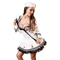 Sexy Sea Sailor Costume For Woman Air Hostess Cosplay Costume Girls Sexy Dress Uniforms Costume Sexy Lingerie White