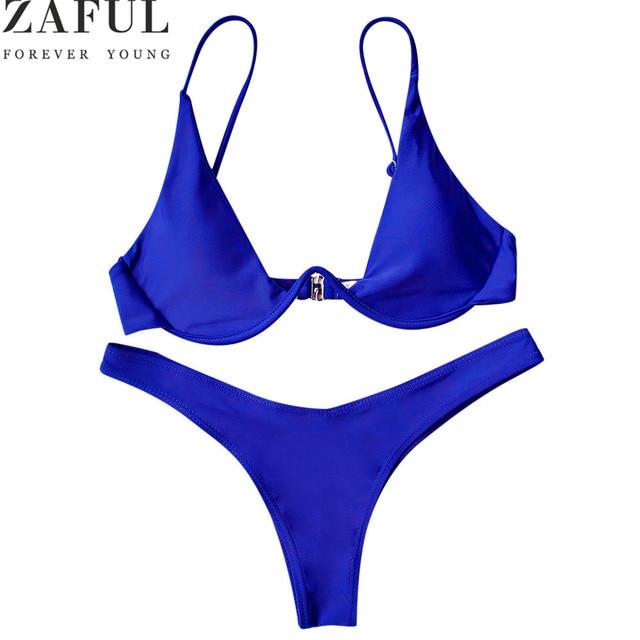 34de567919 ZAFUL New Sexy Bikinis Women Swimsuit Low Waisted Bathing Suits Underwired  Plunge Swim Push Up Bikini Set Plus Size Swimwear