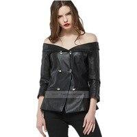 2017 nouvelle femme slash cou PU veste en cuir de mode Mince rue style double breasted moto vêtements en cuir veste wj959
