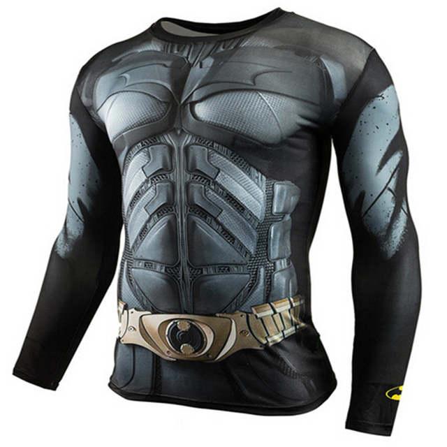 d5e21ac060 Mens Moda Camisas T Compressão Camisa Superman Capitão América Roupas 3D  Camiseta de Manga Longa Homens