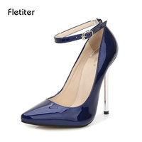 Fletiter Shoes Women 13 Cm High Heels Pumps Leather Pointed Toe Women Pumps Ladies Shoes Thin