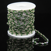 Tiny Green Glass Crystal Rosary Beaded Chain Plated Silver Wire Wrapped Link Faceted Rondelle Beads Craft