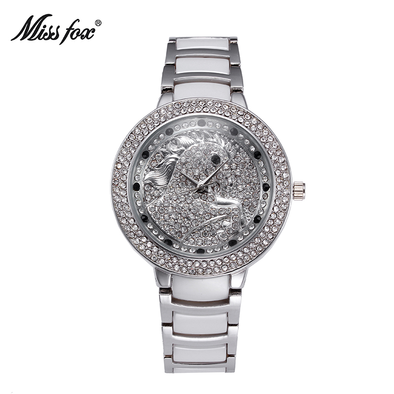 Miss Fox The Horse Luxury Fashion Female Watches Crystal Womens Watch Waterproof Ceramic Strap Quartz Diamond Wristwatch Horloge fox womens swimwear