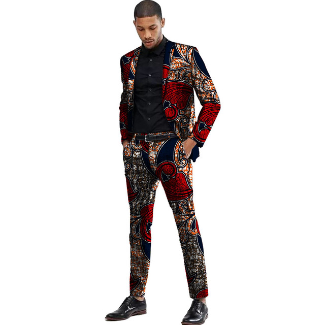 Africa Style Men Suits Dashiki Print Suit Jacket And Pant  1