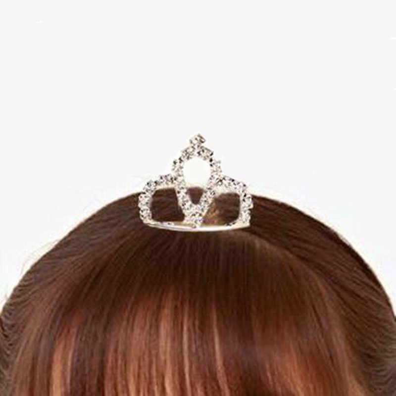 Лидер продаж, милое дизайнерское платье принцессы, расшитые стразами, заколка для волос в форме короны кристалл для девушки детские аксессуары для волос расчески для волос шпильки оптовая продажа
