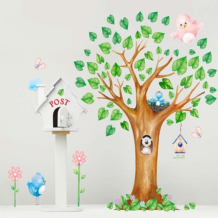 2015 New Home Decor 1 Pc/lot Cartoon Tree Birds Wall