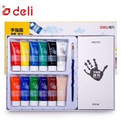 Deli 6/12 цветов/Набор пальчиковых красок, детские наборы для рисования, Детские краски для дизайна ногтей, акварельные краски с 1 кистью, принад...