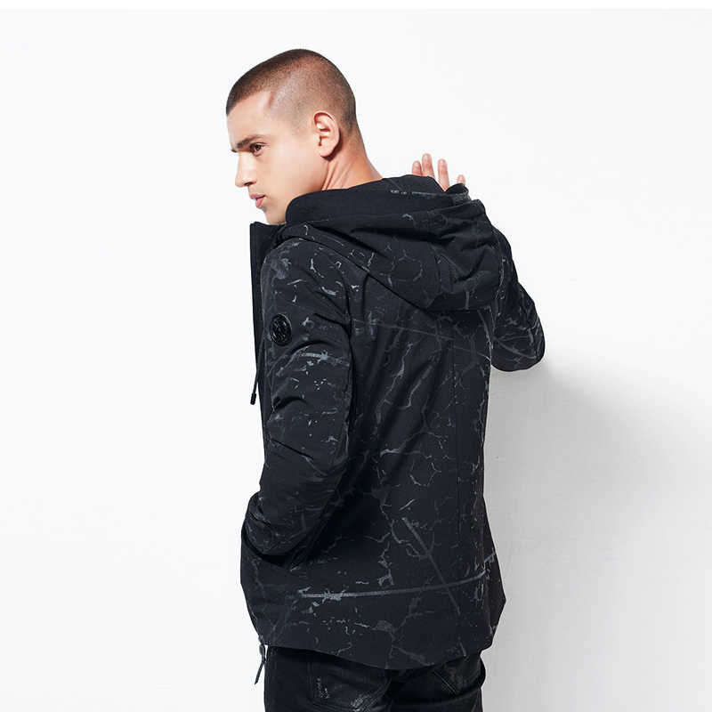 BOSIBIO осень мужские куртки легкая ветровка камуфляж Повседневное Черная куртка с капюшоном мужской моды верхняя одежда новое поступление