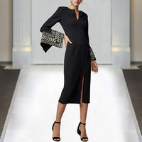 Pencil Milan Runway High Quality Spring New Women'S Fashion Party Work Sexy Vintage Elegant Chic Embroidery Long Sleeve Dress