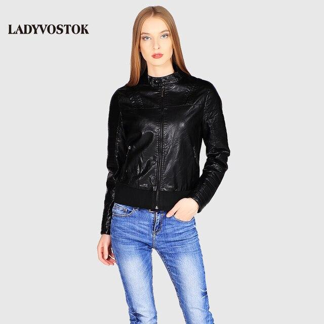 Ladyvostok осень новые модные черные женские куртка кожаная короткая куртка из искусственной кожи байкерская куртка пальто молния леди кожаная куртка J7807