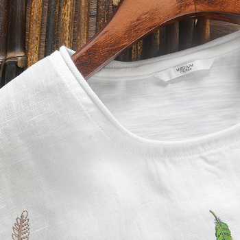 2017 Chinese trend leaf embroidery linen men t-shirt round neck t shirt men cotton casual short sleeve summer men tshirt camisa 4