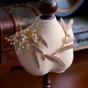 Image 3 - Korean Handmade Yarn Brides Headbands Rhinestone Soft Flower Bridal Hairbands Wedding Hair Accessories Evening Headdress