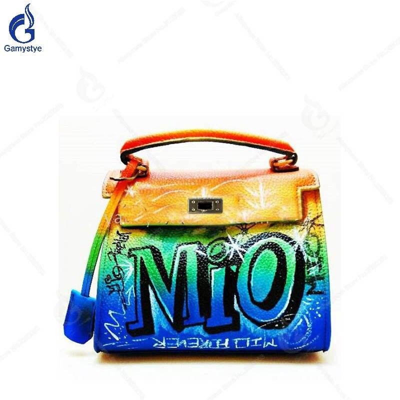 Gamystye 2018 Women Ladies Handbags Graffiti Letter Vintage Crossbody Bags High Capacity Togo Leather Classic Shoulder Bag Y