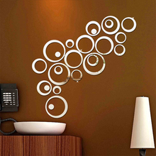 24pcs/set 3D DIY Circles Wall Sticker Home Decoration Mirror Wall Stickers for TV Background Home Decor Acrylic Decor Wall Art