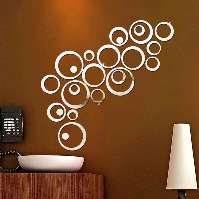24pcs/set 3d Diy Wall Sticker Decoration Mirror Wall Stickers For TV  Background Home Decor