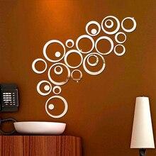 24 unids/set 3D DIY círculos pegatina de pared decoración del hogar espejo pegatinas de pared para TV Fondo decoración del hogar acrílico decoración de pared arte