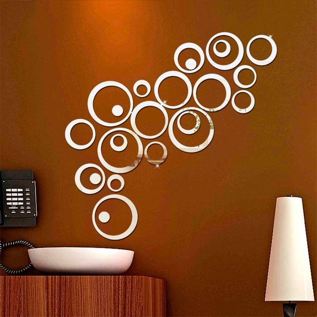 new 24pcs/set 3d diy circles wall sticker decoration mirror wall