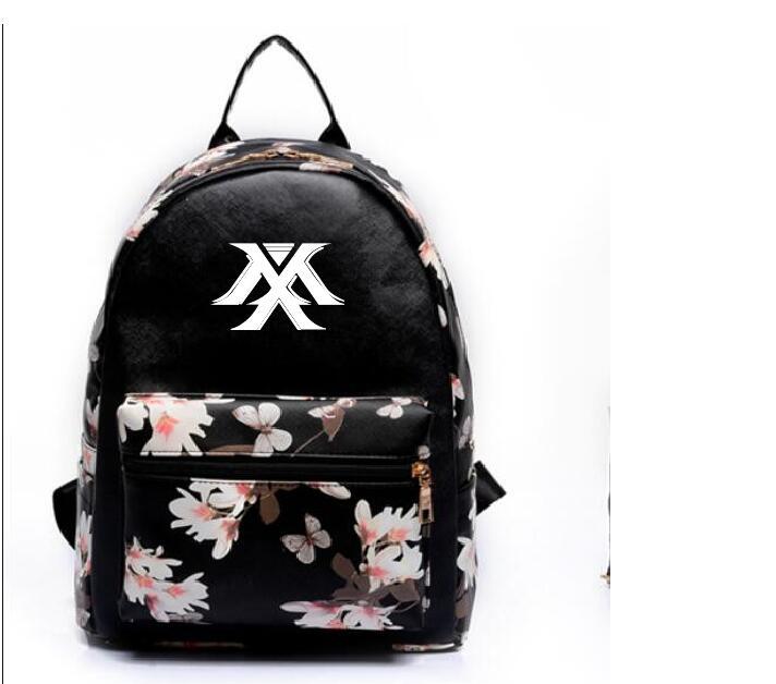 k-pop 2018 new Leisure pu backpack MONSTA X The same paragraph Girls Mini models Korean version College Wind school bag