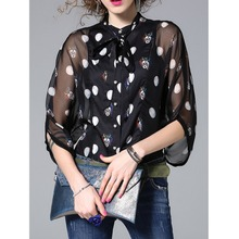 Original 2017 Brand Blusas Summer Style Black Bow Graphic Print Silk-blend H-line 3/4 Sleeve Blouse With Camis Women Wholesale