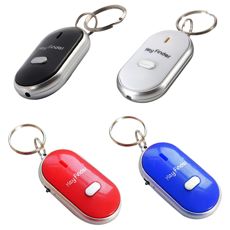 New 1PCs White LED Key Finder Locator Find Lost Keys Chain Keychain Whistle Sound Control Party Gift Party Favors