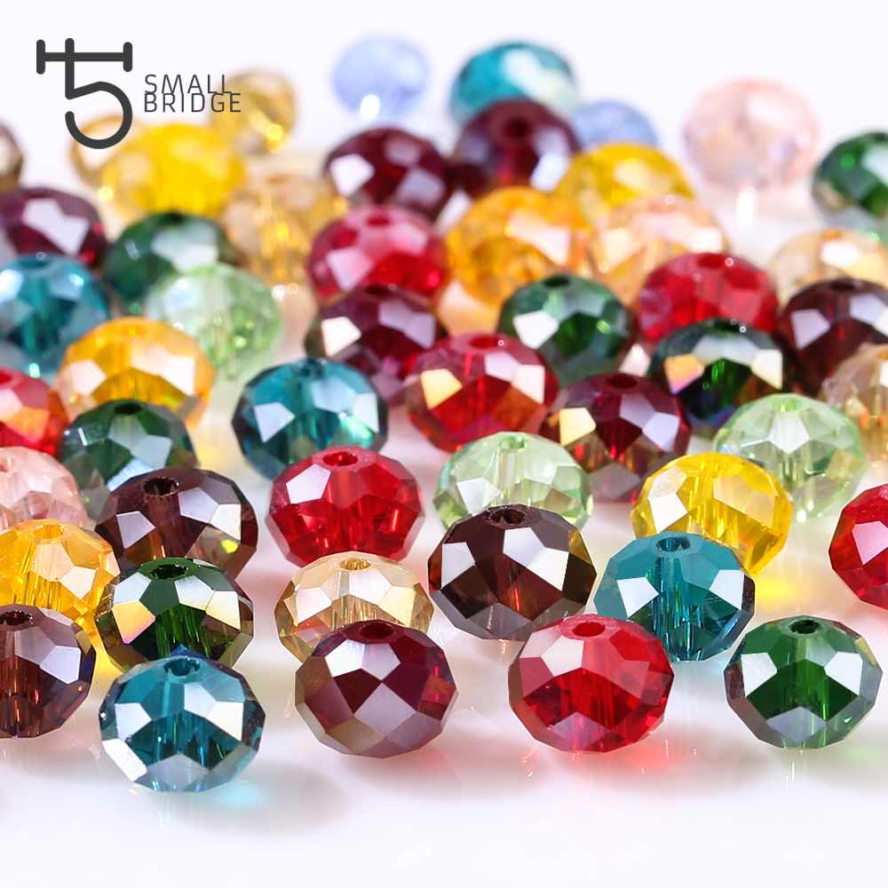 4 6 8mm Czech Loose Rondelle Crystal Beads For Jewelry Making Diy Needlework AB Color Spacer Faceted Glass Beads Wholesale Z179(China)