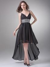 Sexy Black High Low Prom Kleider Für Junioren V-ausschnitt Perlen Chiffon party Kleider Kreuzfahrt Urlaub Kleider Mit Straps cd6946