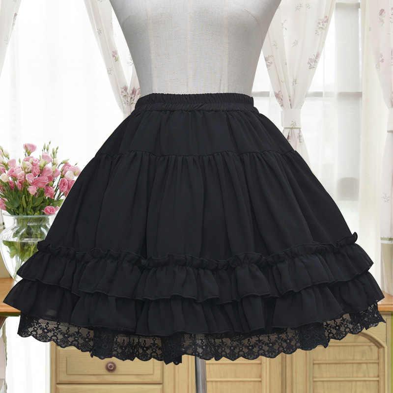Sweet Lolita Chiffon Onder Rok Korte A-lijn Cosplay Petticoat met Gelaagde Ruches