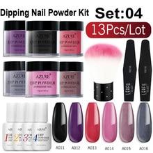 Azure Beauty 13Pcs/Lot Gradient Color Glitter Nail Powder Set Dipping Powder Holographic Nail Powder Base Top Nail Coat Kits