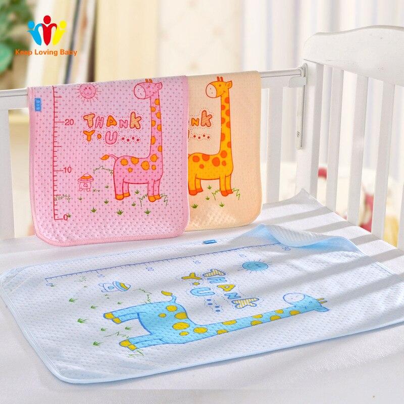 Mattresses Baby Bedding Ideacherry 60*75cm Baby Cotton Diapers Mattress Cartoon Waterproof Changing Mat Baby Cushion Reusable Diaper Washable Urine Pad