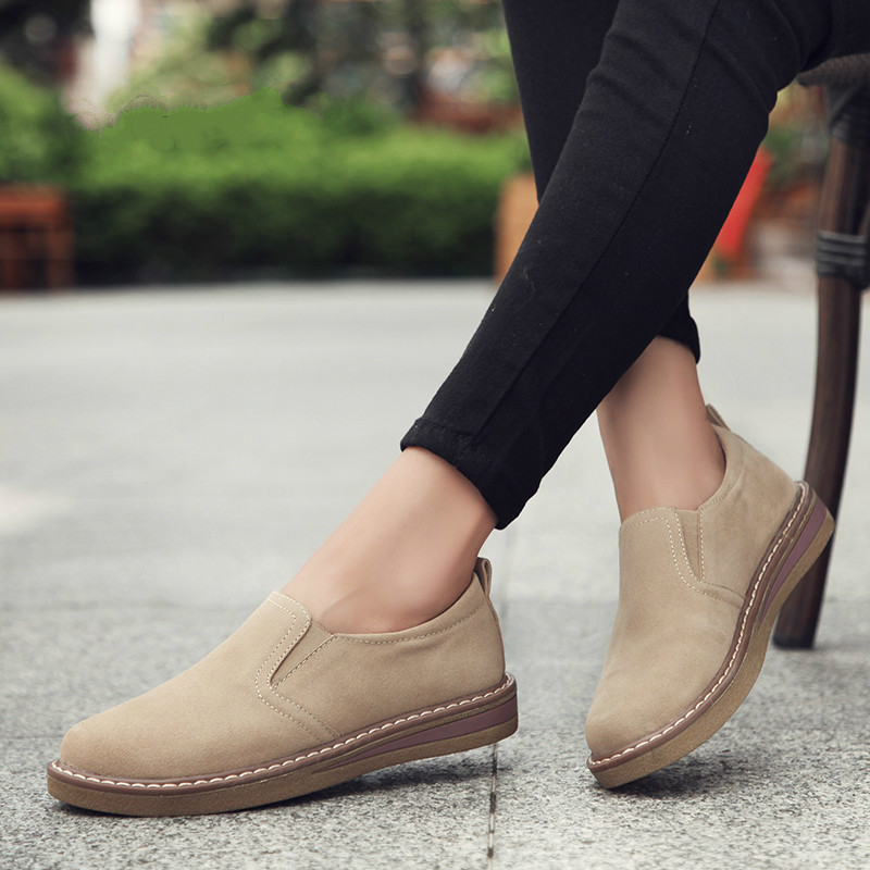 Dropshiping 2019 Spring Women Flats Sneakers Shoes Women Slip on Flat Loafers   Suede     Leather   Handmade Boat Shoes Black Oxfords