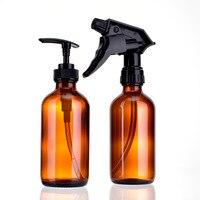 High Quality 2Pcs Set 240ml Travel Portable Brown Color Glass Perfume Atomizer Small Mini Empty Spray